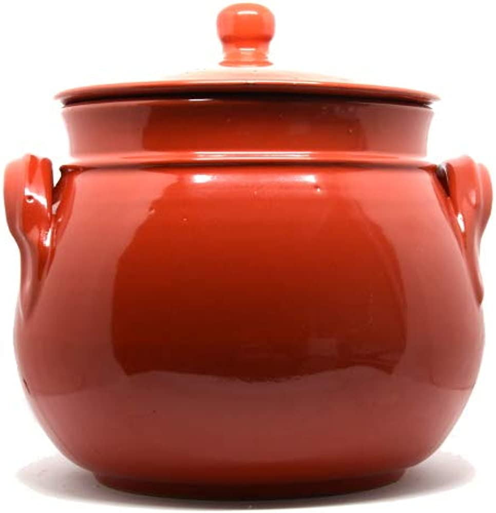 Pentola bombata con coperchio, in ceramica, 20 cm, capacità 5 litri