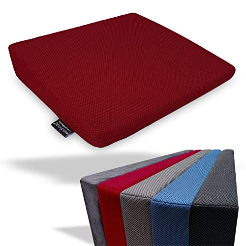 Memory Foam Wedge Cushion for Back Support and Height Boost - Washable Zip Cover - Choose Blue Velour or New '3D' Mesh Cover (Wine 3D Mesh)