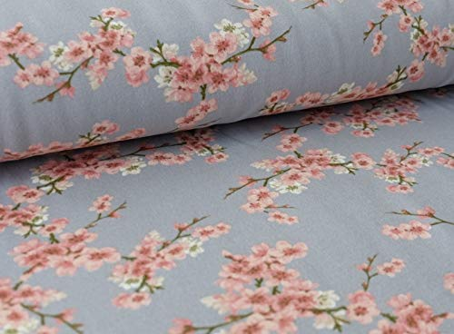Qualitativ hochwertiger GOTS Sweatshirtstoff mit Blumen auf Grau als Meterware zum Nähen von Erwachsenen, Kinder- und Baby Kleidung, 50 cm