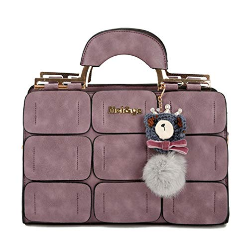 ZWYKH Tasche FrüHling Handtaschen Flut Palace UmhäNgetasche NäHgarn Boston Tasche Haar Ball Tragbare Messenger Bag
