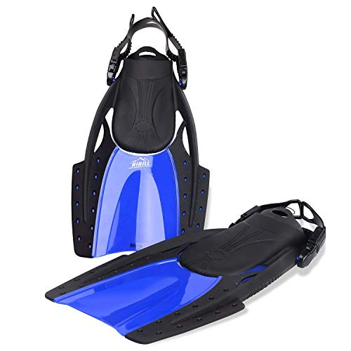 HiHiLL Snorkeling Fins Swimming Fins, Scuba Diving Fins,Full Foot with Adjustable Heel Straps for Men Women, Lightweight and Compact with Mesh Bag for Traveling, Training