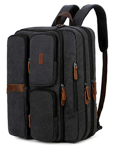BAOSHA 3in1 Convertible Canvas Leather Handbag Business Briefcase Laptop Backpack Messenger Shoulder Bag Multi-Functional Travel Rucksack Fits 15.6 17.3 Inch Laptop for Men/Women BC-11 (Black)