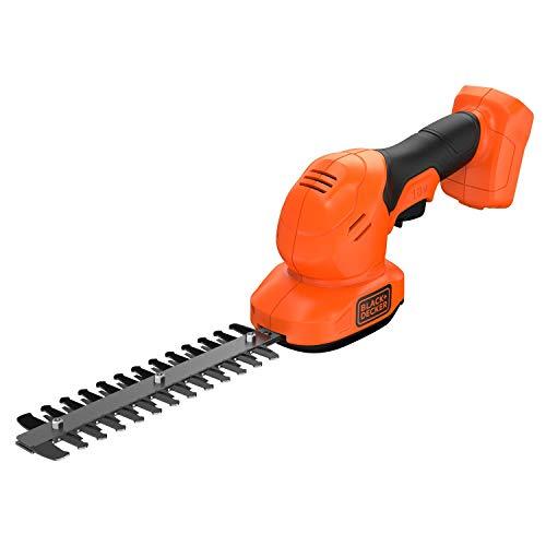 Black+Decker BCSS18B-XJ Akku Gras- und Strauchscheren-Set (18V, 2in1 Kombigerät, werkzeugloser Messerwechsel, Laufzeit ca. 60min, inkl. Strauchscherenmesser, Grasscherenmesser), schwarz/orange