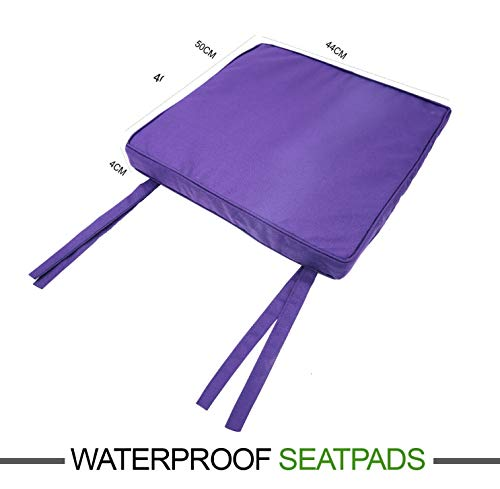 EHD Waterproof Chair Seat Pads Super Soft Seat Cushions For Office Outdoor Kitchen Dining Room Patio Tie On Office Garden Chairs (Purple, 44x50+4cm)