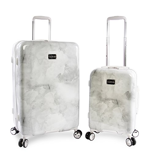 BEBE Women's Lilah 2 Piece Set Suitcase with Spinner Wheels, Silver Marble, One Size