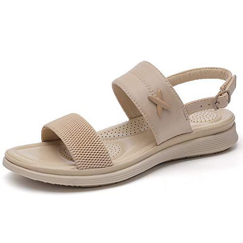 BaiMoJia Sandalias Mujer Planos Sandalias Playa Verano Hebilla Punta Abierta Vacaciones Zapatos Elegante Cómodo