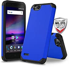 Phone Case for [ZTE ZFIVE G LTE (Z557BL) / ZTE ZFIVE C LTE (Z558VL)], [DuoTEK Series][Blue] Shockproof Defender Protective Cover (Tracfone, Simple Mobile, Straight Talk, Total Wireless)