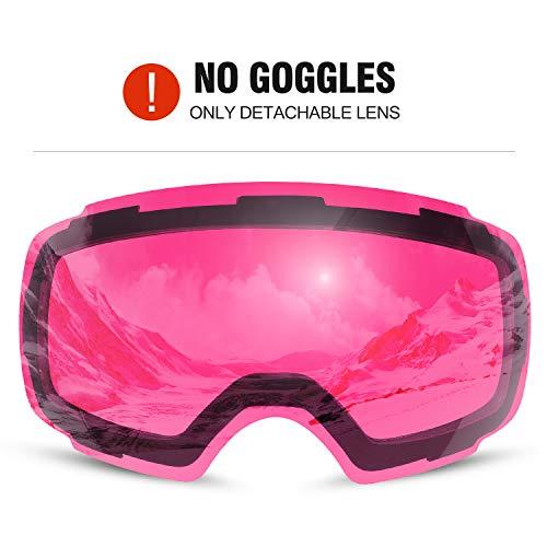 Odoland Skibrille Ski Scheibe Skibrille mit austauschbarer magnetische Schbeibe Rosa(geeignet Skibrille) VLT 50%