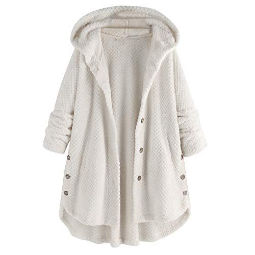 XOXSION Abrigo de invierno para mujer, largo, ligero, suave y cálido, chaqueta de invierno con capucha Blanco XXL
