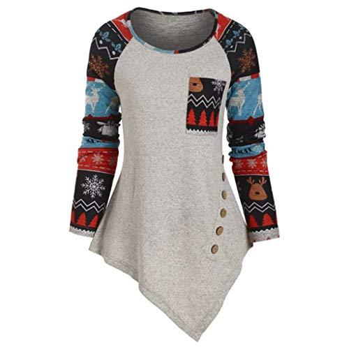 Clearance Women Blouse FEDULK Christmas Reindeer Snowflake Print Dots Tops Hoodies Striped Ugly Sweater