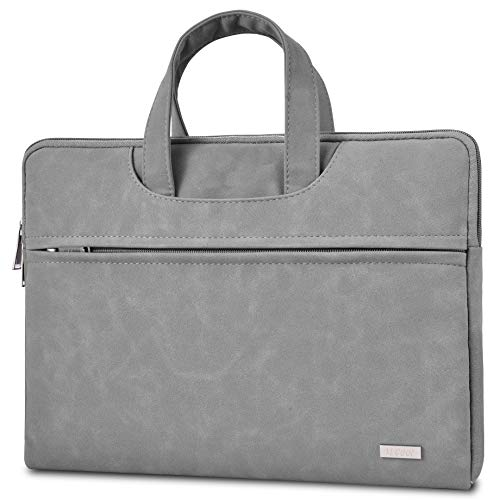 TECOOL 15-15.6 Inch Laptop Sleeve, Faux Suede Leather Bag Water Resistant Briefcase Carrying Case Cover with Handle and Accessory Pocket for MacBook Pro 15/16, HP/Lenovo/Acer/Asus/Dell NoteBook - Grey