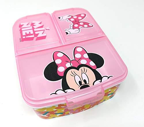 Minnie Maus Kinder Brotdose mit 3 Fächern, Kids Lunchbox,Bento Brotbox für Kinder - ideal für Schule, Kindergarten oder Freizeit