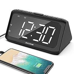 ANJANK Digital Dual Alarm Clock Radio for Bedrooms, USB Charger Port, 5 Level Brightness Dimmer, 8 Sounds Adjustable Volume, FM Radio w/ Sleep Timer, Battery Backup