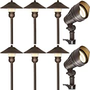8 Pack Low Voltage LED Landscape Kits, 12V Pathway Flood Light Kits, 10W 390LM and 3W 150LM Wired for Outdoor Yard Lawn, Die-cast Aluminum, 50W and 30W Equivalent 15-Year Lifespan