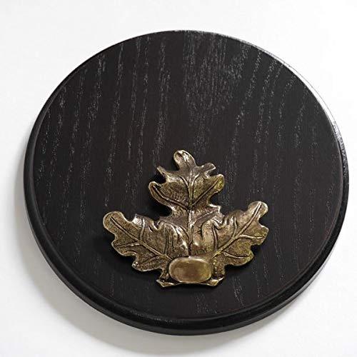 Keilerschild Keilerbrett Gewaffbrett Trophäenschild rund dunkel AF 17 cm mit Eichenlaub Deckblatt groß