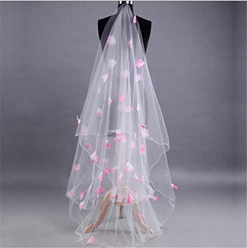 DEAR-JY Hochzeitsschleier Brautschleier,Eleganter romantischer rosa klebriger Blumenblattschleier voll des Langen Abschnitts der Sterne, der amerikanischen Nettohochzeitsschleier kräuselt