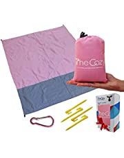 Sand Free Compact Beach Blanket - Pocket Picnic Sheet for Outdoor Multiple Use | Best Mat for Travel & Festivals, Soft & Quick Drying with 4 Portable Hiking Sticks (Cotton Candy Pink)