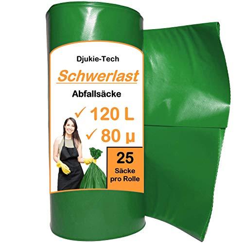 Djukie-Tech 120 Liter grüne Müllbeutel - 25er Rolle - Extra starke 80my Müllsäcke - 700 x 1100mm - XXL Mülltüten - LDPE - Müllsack I Abfallsäcke