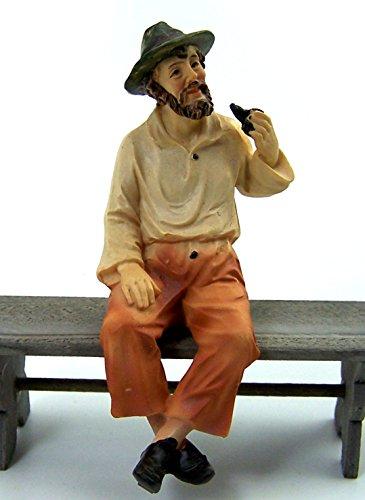 Krippenfigur. Polyresin, handbemalt. Kantensitzer Alte Mann. Zu 11cm Krippenfiguren.