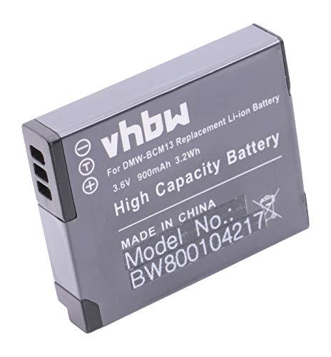 vhbw Akku 900mAh (3.6V) für Kamera Panasonic Lumix DMC-FT5, TS5, TZ40, TZ41, TZ56, TZ61, ZS30 wie DMW-BCM13, DMW-BCM13E, DMW-BCM13PP.