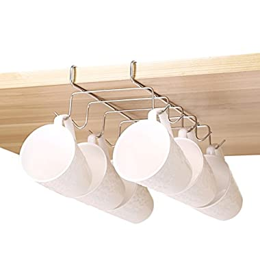 Bafvt Coffee Mug Holder - 304 Stainless Steel Cup Rack Under Cabinet, 10Hooks, Fit for the Cabinet 0.8  or Less