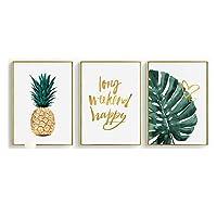 スカンジナビアスタイル熱帯植物ポスター緑葉装飾写真モダン壁アートパネル絵画モダンリビング部屋家装飾玄関リビングと寝室の飾りに最高インテリアリビングルームの装飾絵画40x60cmx3いいえフレーム