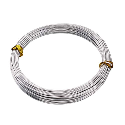 Fashewelry 32.8 Feet 15 Gauge Aluminum Wire Silver Bendable Metal Craft Wire for Beading Jewelry Craft Making