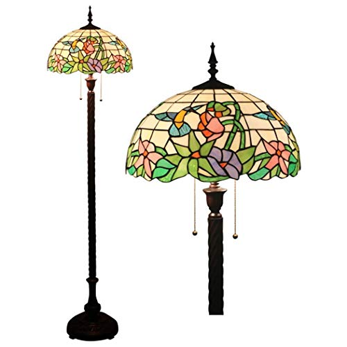 16 Inch Tiffany Style Floor Lamp Stained Glass Floor Lights Reading Standing Light for Living Room Bedroom Office