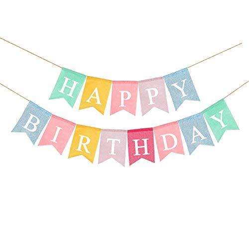 Dusenly Banderines de arpillera de tela vintage para cumpleaños, de arpillera, guirnaldas de banderines de arpillera, decoración Shabby Chic para fiesta de cumpleaños rústica