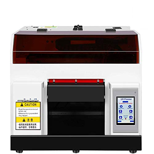UV Printer, A4 UV Flatbed Printer with Touch Screen for Plastic/Wood/Bottle/Glass/Leather/Metal/Acrylic/Films/Technical Fabrics,Flatbed Size 11.69' x 8.27'(with Clothing Mould and Ink)