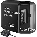 Electric Pencil Sharpener for Kids, Auto Stop Pencil Sharpener for Colored Pencils(6-8mm), Battery Operated Pencil Sharpener with Adapter, Fast Sharpen, 3 Settings, Christmas Gift for Kids, Black