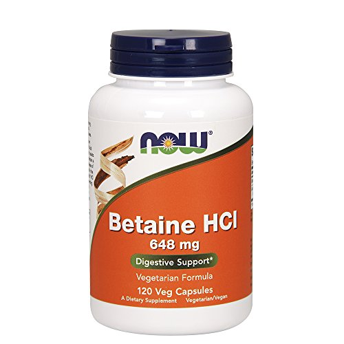 Now Foods Betaine HCl, 648 mg with 150 mg of Pepsin, 120 Capsules, 2 Pack