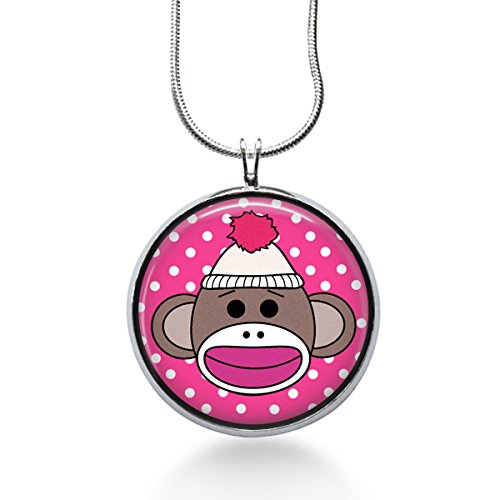 Sock Monkey jewelry, Monkey Chimpanze Animal Pendant Necklace, kawaii