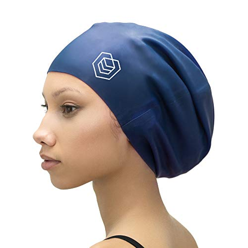 SOUL CAP XL – Extra Large Swimming Cap - Designed for Long Hair, Dreadlocks, Weaves, Hair Extensions, Braids, Curls & Afros - Women & Men - Premium Silicone (Navy)