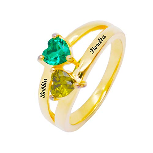 Customize 2 Birthstone Rings DIY Name Ring Heart Shape Ring Promise Ring Christmas for Girlfriend(18k Gold Plated M 1/2)
