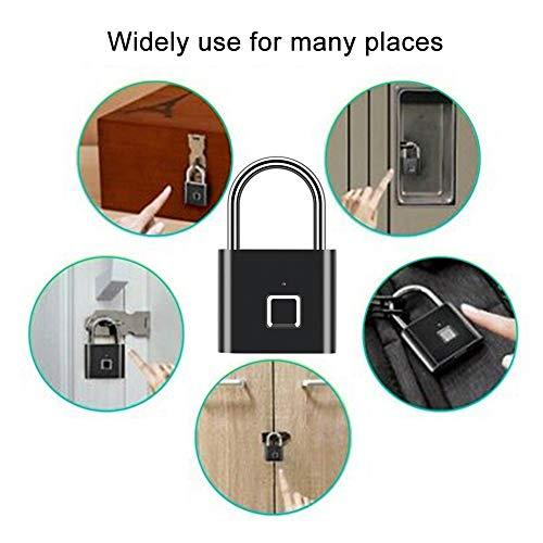 Pbzydu 【𝐂𝐡𝐫𝐢𝐬𝐭𝐦𝐚𝐬 𝐆𝐢𝐟𝐭】 Fingerprint Padlock, Fingerprint Smart Padlock Easy To Carry IP65 Waterproof Factories Hotels Smart security Bathing Centers Officer Home for Apartments
