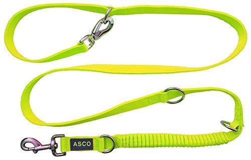 ASCO Hundeleine mit Ruckdämpfer, robuste Trainingsleine verstellbar in 4 Längen, Premium Führleine auch für große Hunde, 100-200 cm, neon gelb AC07L