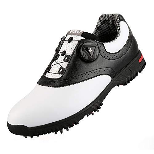 JUST ALONE Zapatos de Golf Zapatillas de Deporte Antideslizantes Impermeables para Hombres Cordones de Zapatos Giratorios Deportes de Golf Impermeables (Size : UK 8)