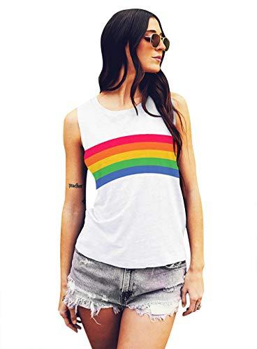 Gay Pride Tank Top Women Rainbow Graphic Print Casual Sleeveless Cute White LGBT Tank Tops (Small, White)