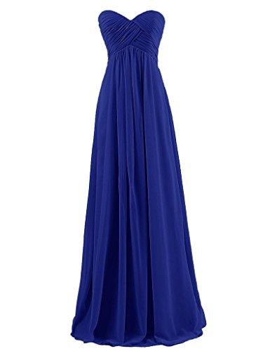 HUINI Brautjungfernkleider Lang Trägerlos Chiffon Empire Ballkleider Schulterfrei Abendkleider Hochzeit Kleider Falten Royal Blue Size 58