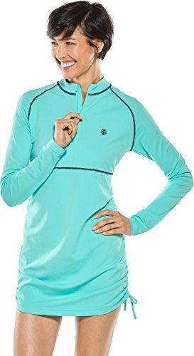 Coolibar UPF 50+ Women's Lawai Ruche Swim Shirt - Sun Protective (Medium- Tropical Mint)
