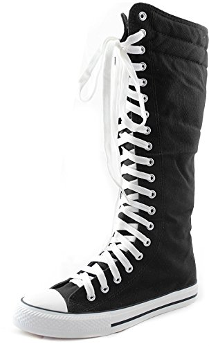 DailyShoes Women's Sneaker Boots Knee-high Mid Calf High Tube Fashion Sneakers Lace Up Winter Warm Snow Boot Lace-up Super Top Athletic Shoes for Women Punk-hi Black 9