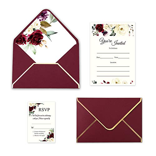 Doris Home 250 GSM 25pcs 5 x7.3 inch Burgundy Invitations Cards with Burgundy Rose Printed Inner Sheets and Envelope with with Gold Border for Wedding,Engagement Invite (Burgundy, Fill-In)