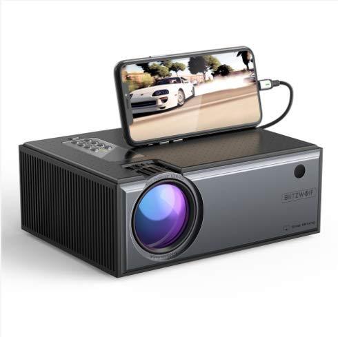 Projetor Blitzwolf® BW-VP1 Pro 2800 Lumens LCD, com Controle Remoto, Espelhamento Tela, Conexão sem Fio