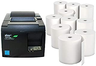 Star Micronics TSP 143IIU Receipt Printer Productivity Bundle - Easy to Use - USB Printer - Dark Gray - Compatible with Square Stand - Includes Ten (10) Rolls of Receipt Paper
