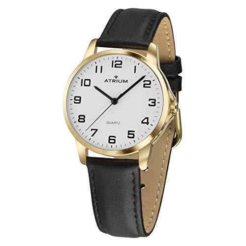 ATRIUM Damen-Armbanduhr sehr deutlich goldfarben Quarz 3 Bar Lederband A37-20