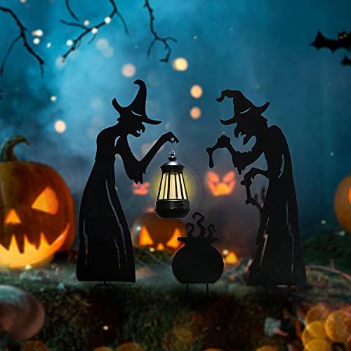Kurala Halloween Solar LightOutdoor, Witch Shaped 3 Pack Retro Warm White LED Lights Waterproof, Stake Lights for Walkway, Yard, Lawn, Patio, Porch, Garden Decoration.