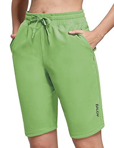 "BALEAF Women's 10"" Athletic Bermuda Shorts Stretchy Walking Lounge with 2 Zipper Pockets Green L"