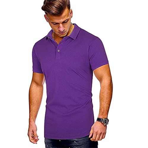 Camisa Polo Hombre Color Puro Minimalista Slim Fit Camiseta Manga Corta Camisa Verano Hombre Camisa Informal Negocios Transpirable Color Sólido Botón Cuello Kent Polo A-Purple L