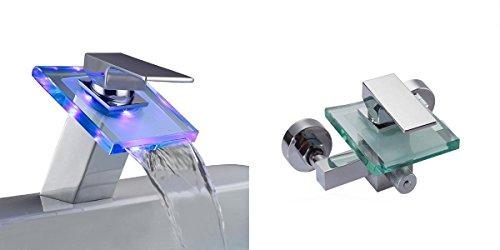 Set Glas Wasserfall Einhebelmischer Wannenarmatur und LED Wasserhahn Waschtisch Chrom | Armatur Badewanne Waschbecken | Einhebel Mischbatterie | Bad Wasserhahn